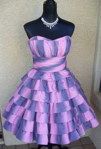 The perfect Alice in Wonderland dress - a Cheshire Cat dress by Betsey Johnson Party Strapless Dress Size 8 Ruffles Full Skirt Pink Purple
