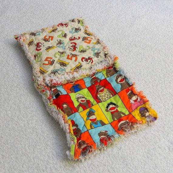 colorful sock monkey blanket