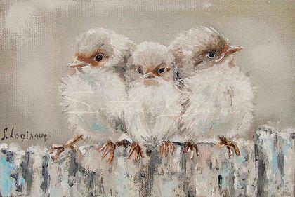Животные ручной работы. Ярмарка Мастеров - ручная работа. Купить Три маленькие птички.... Handmade. Бежевый, птички, картина в подарок