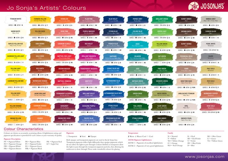Chroma 39 s jo sonja artists 39 colors color chart color for Chroma mural paint markers