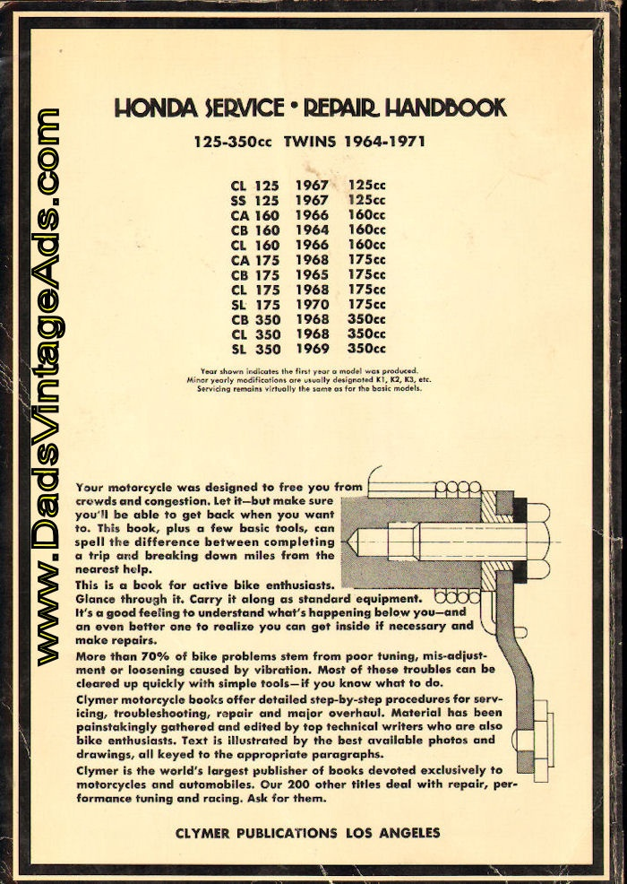 1964-1971 Honda 125-350cc Twins Cylmer Service / Repair Handbook