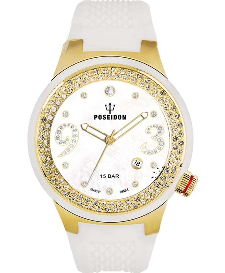 POSEIDON Crystal Ladies Gold White Silicone Strap Τιμή: 159€ http://www.oroloi.gr/product_info.php?products_id=34118