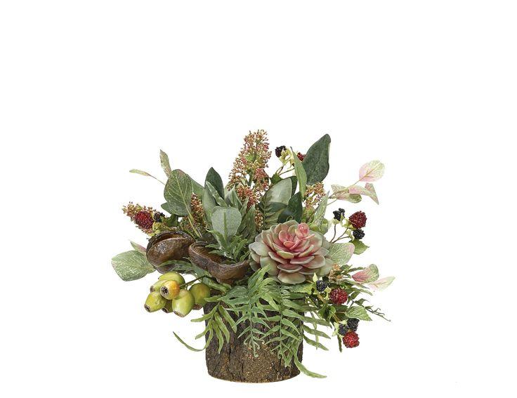Succulent Eucalyptus (RF278): Succulent Eucalyptus, Mauve Green,Cork Bark Vase,12wx15dx12h