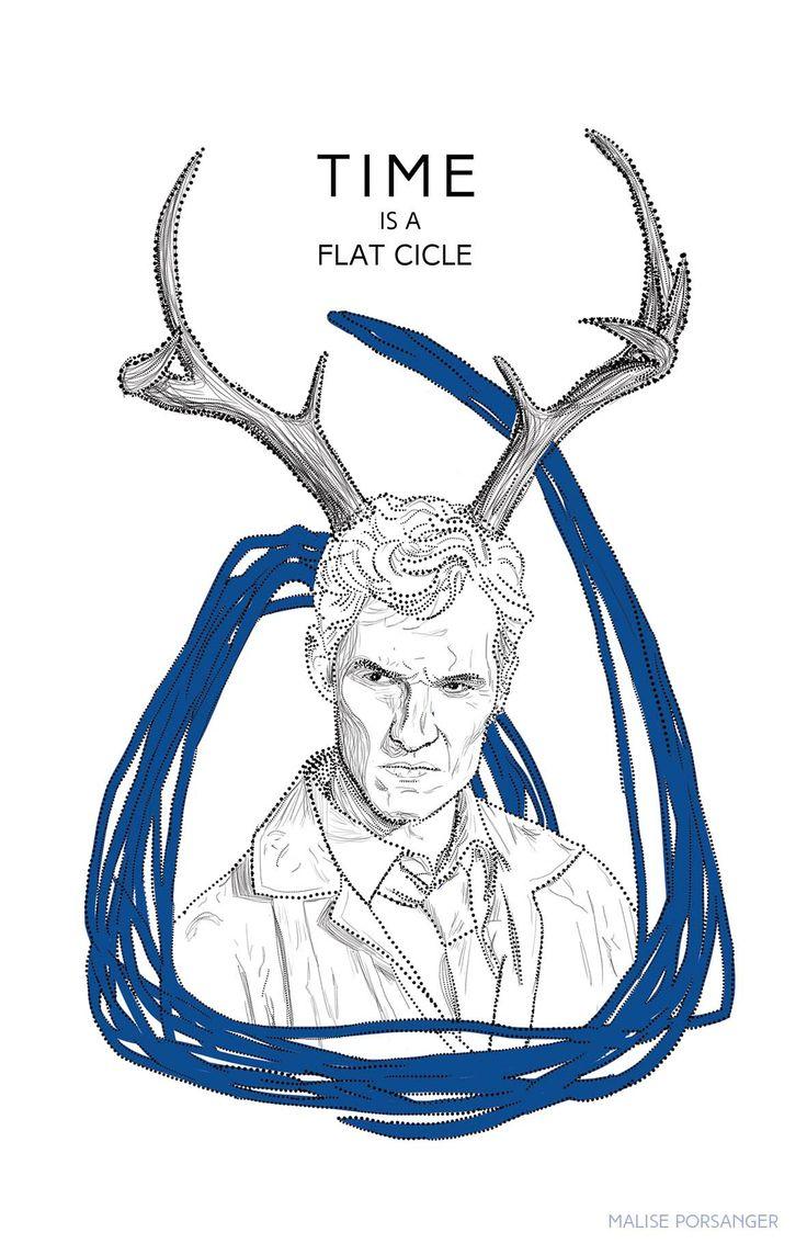 True Detective illustration. Rust Chole. Antlers