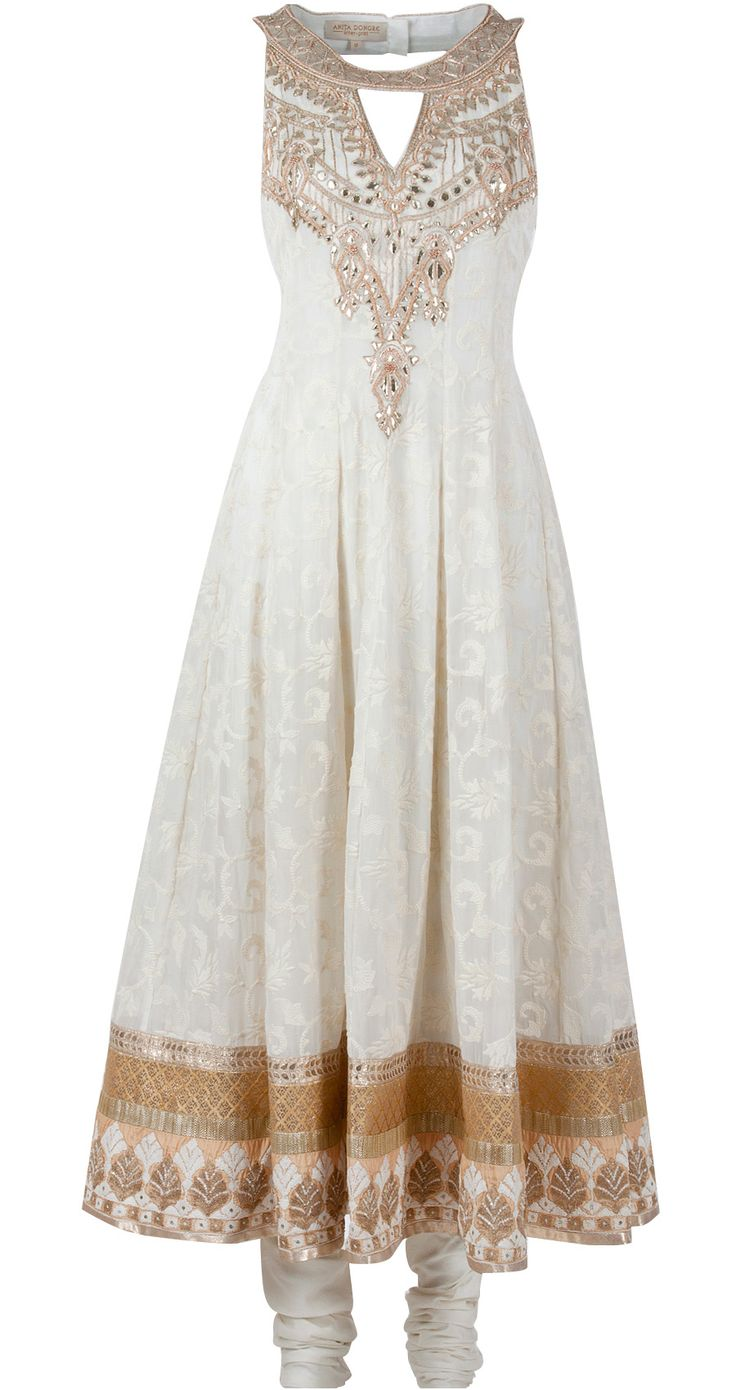 Cream embroidered anarkali by ANITA DONGRE. http://www.perniaspopupshop.com/whats-new/anita-dongre-cream-embroidered-anarkali-andc1013c524.html