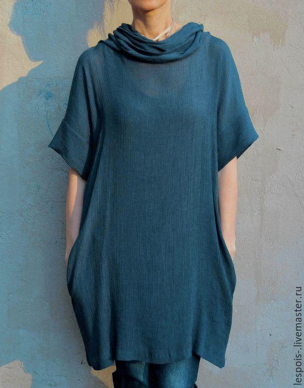 Купить Туника - темно-синий, туника летняя, туника, платье-туника, воротник-хомут