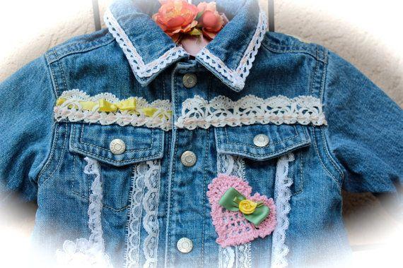 Boho Shabby Chic Babys Denim Jacket Lace Ribbon by IzzyRoo on Etsy