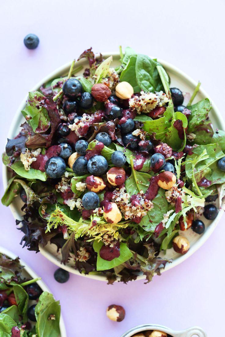 HEALTHY Blueberry Quinoa Hazelnut Salad with a Blueberry Balsamic Vinaigrette!