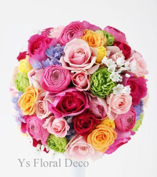 ピンクの濃淡を主体にオレンジや黄緑、紫、白などミックスカラーブーケ @ウェスティンホテル東京 ys floral deco