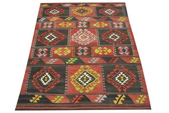 Handmade Turkish Kilim rugs 89 x 58 Feet by stripepattern on Etsy