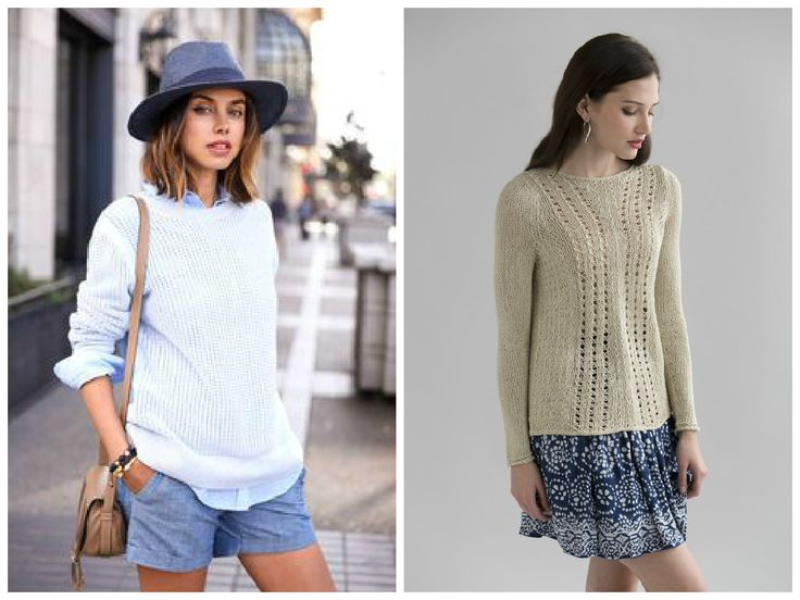 New street style: More Summertime layers! Pair crisp cotton shorts with a light button-up and a lacy pullover!! Pattern (right) is the Kiri Pullover in Filatura di Crosa BRILLA.  (Inspiration photo, left, from pinterest.com.)