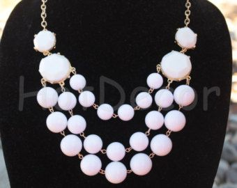 White Statement necklace for women beaded necklace for girls Bubble Necklace Bib Necklace for mother'sday Chunky Necklace ship from US