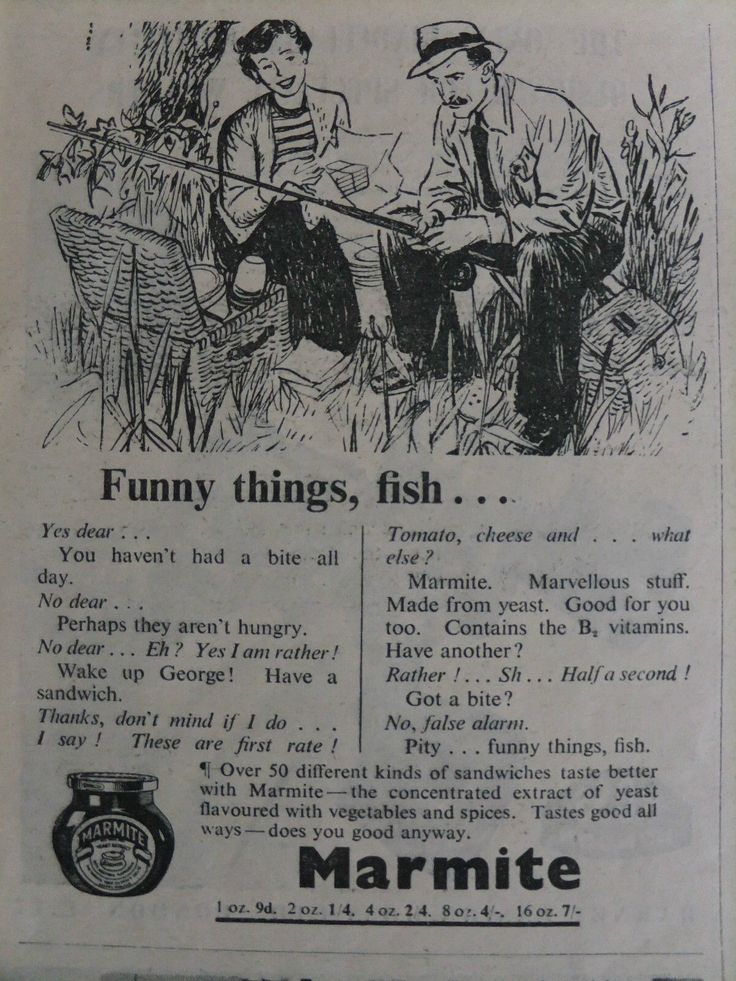 1952 ADVERT....MARMITE....FISHING THEME. in Collectables, Advertising, Food | eBay