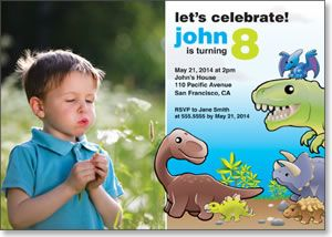Dinosaur Birthday - Photo Birthday Card from Kindred Greetings. Customize with your own photo and event details.