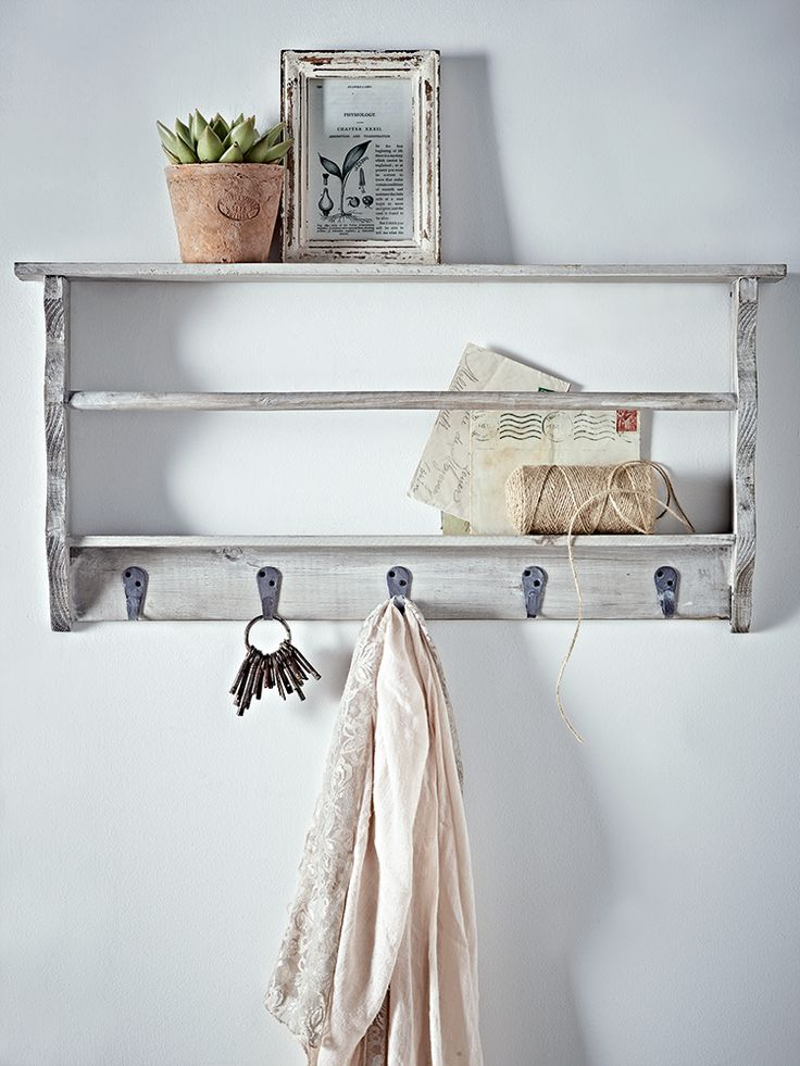 NEW Grey Washed Wall Rack With Hooks