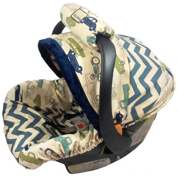 Chevron Classics  Boy Baby Seat Cover,  Baby Car Seat Cover with Matching Neck Strap Set