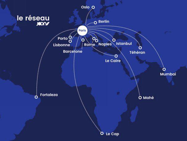 Carte du réseau Joon (été 2018)