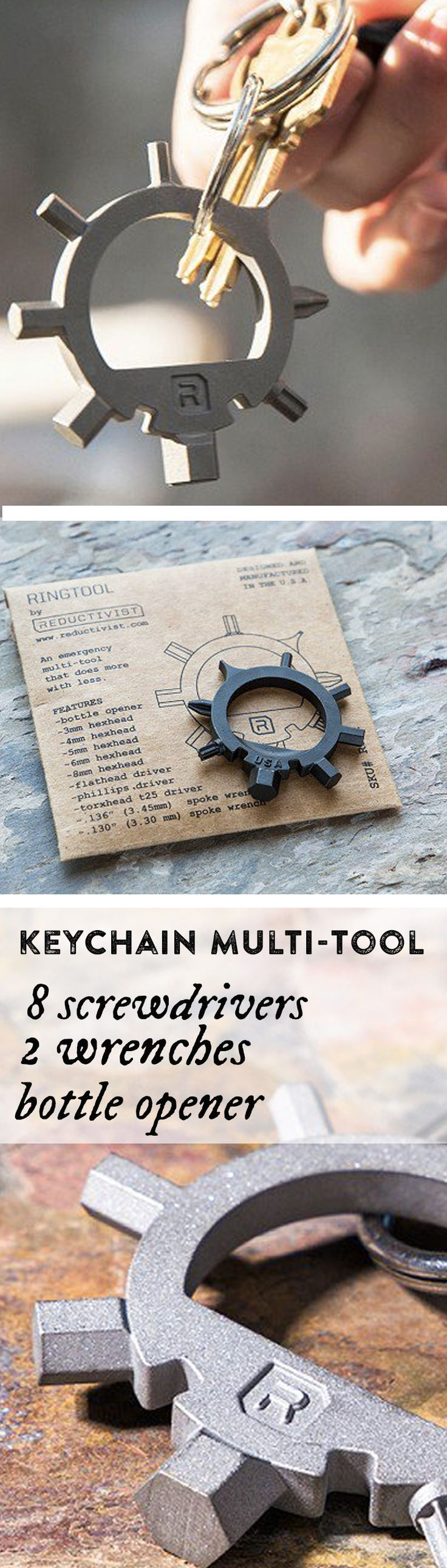 Keep 8 screwdrivers, 2 wrenches & a bottle opener on your keychain. Made in NY, this almost indestructible multi-tool weighs under an ounce.