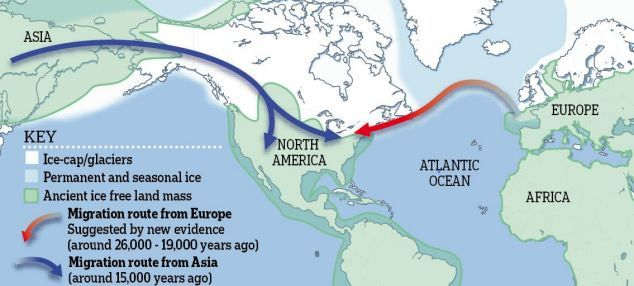 """THEORETICAL concept map as to how Europeans may have been the first to reach North America: along an Atlantic Ocean Ice bridge - based on a some tools found on the East Coast dating between 26,000-19,000 years ago which are """"virtually exactly the same as western European materials."""" We will have to see more on this one."""