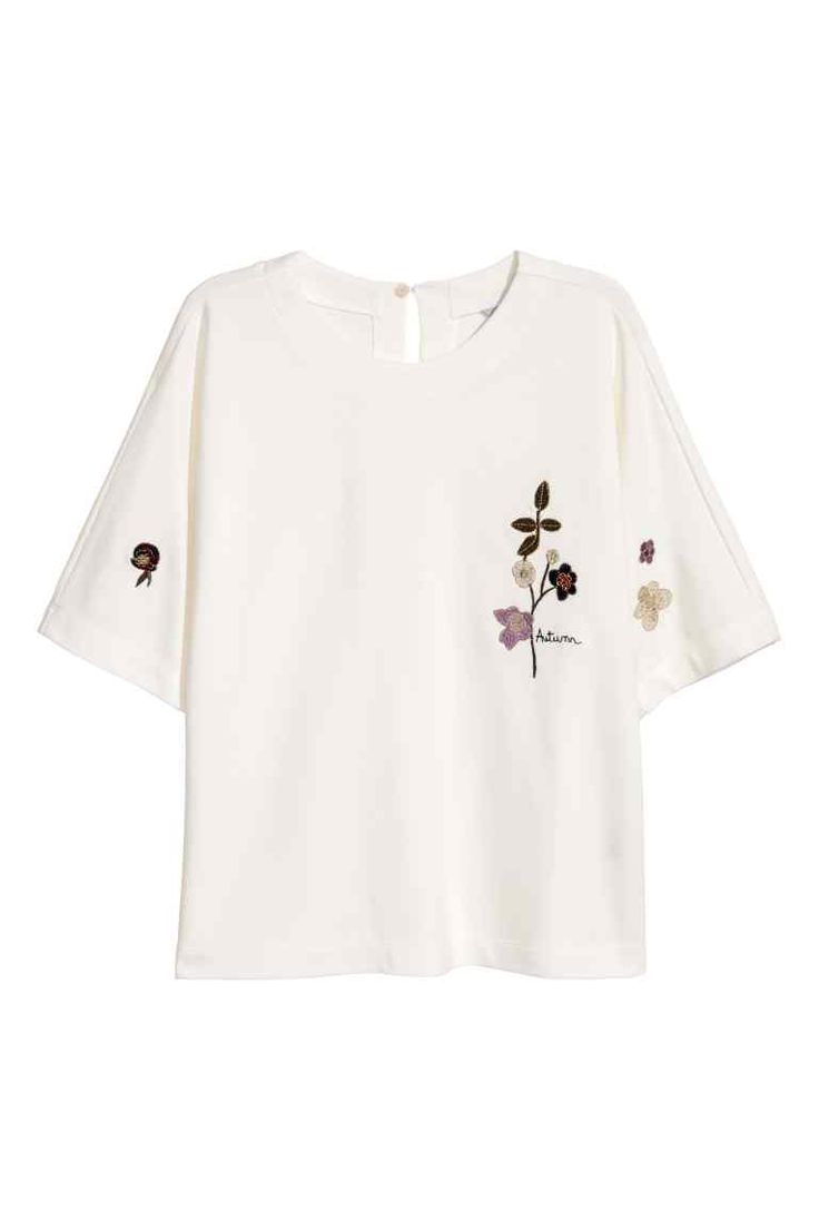 Top with embroidery - White - Ladies | H&M GB