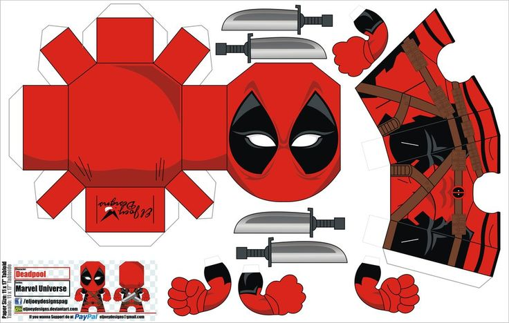 Deadpool papercraft by ELJOEYDESIGNS.deviantart.com on @DeviantArt