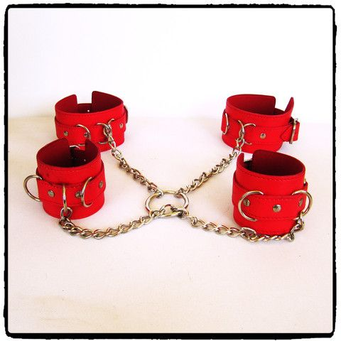 Red Leather Hog Tie Kit R 650.00  This red synthetic leather hog tie is the quickest and easiest way to hog tie your submissive with no complicated bondage ... simply snap the chains onto the wrist and ankle cuffs. Lady Kink - Red Leather Hog Tie Kit