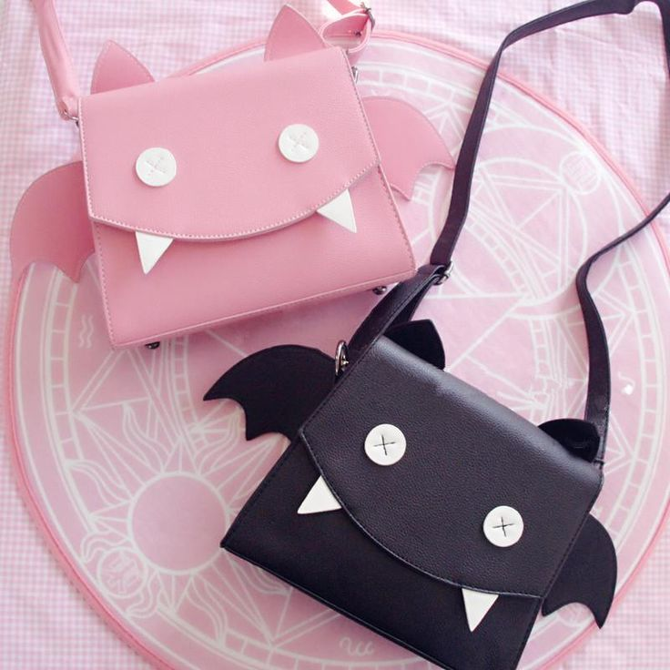 Pink/black wings kawaii bag.