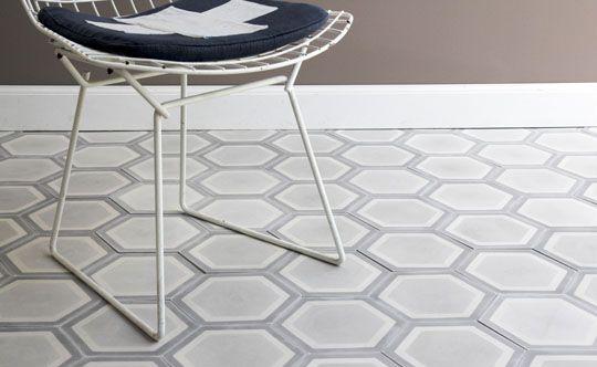 bath #1 honeycomb hex in pale greys : popham design :: cement tiles :: handmade in morocco