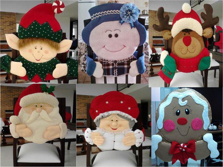 Patrones forros de sillas navideños