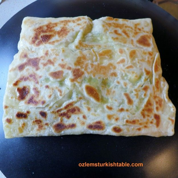 Cook the gozleme for about 2 -3 minutes on a non-stick pan, or until golden brown.