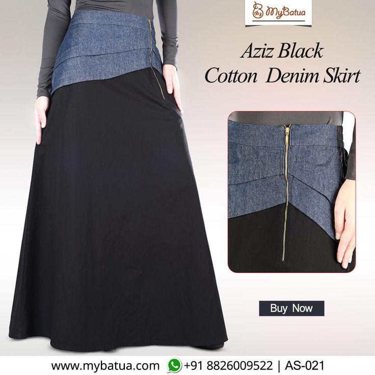 Look stylish and modest in Aziz Black Cotton Denim Skirt with contrast waist band!  #skirt #azizcottonskirt #denimskirt #muslimahfashion #spring2017 #mybatua #muslimah #modestfashion #hijabista #Ramadan2018