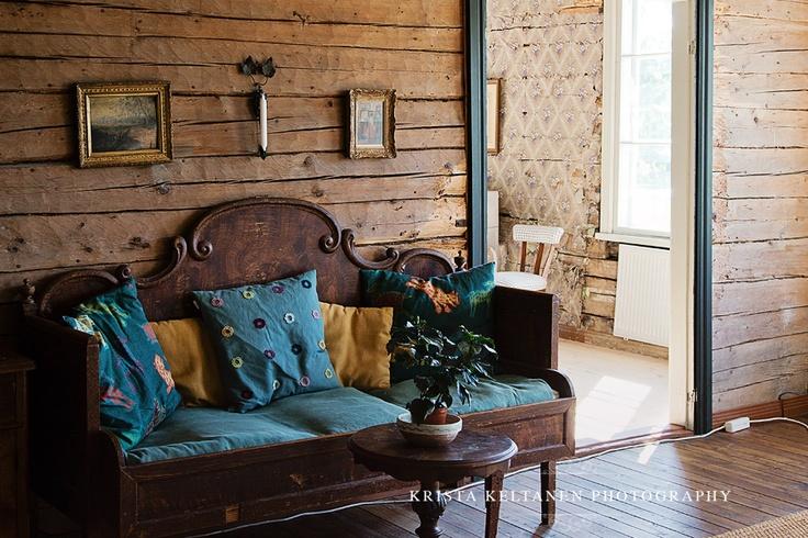Dark turquoise + antique furniture