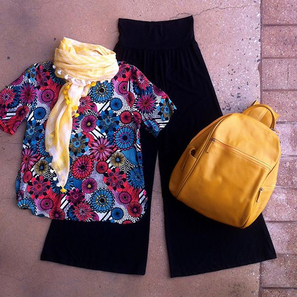 Welcome Spring with a Saints & Lovers floral print top & Wyse wide leg pants accessorised with sunshine yellow Leather Cargo backpack & Violet Hartley cotton scarf
