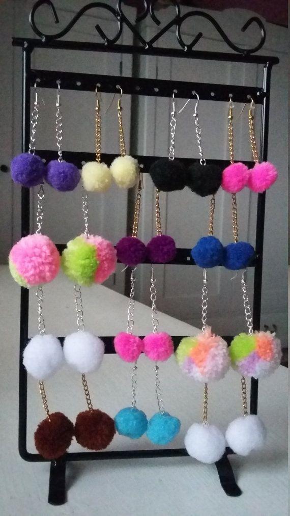Pom Pom  Earrings / Tassel Earrings / Fluffy Girls Earrings / Cute Woman Pom Pom Earrings / Fluffy Ball Earings