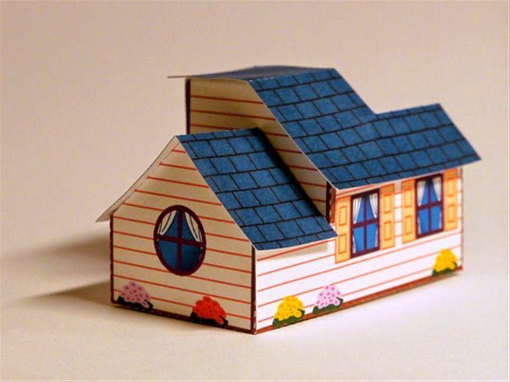 gunting tempel anak, membuat miniatur rumah kertas, prakarya paud