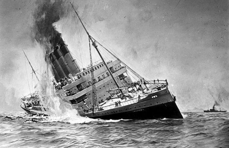 """Bundesarchiv DVM 10 Bild-23-61-17, Untergang der """"Lusitania"""" - Erster Weltkrieg – Wikipedia"""