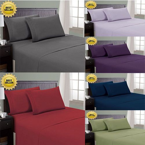 4 Pcs Comforter Set Queen Size Top Egyptian Quality Bed Sheets Many Colors New