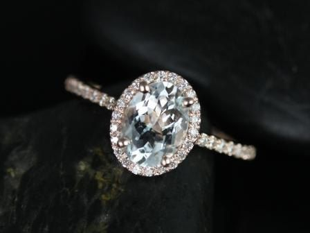 Rebecca 14kt Rose Gold Oval White Sapphire and von RosadosBox
