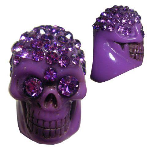 Kreepsville 666 Purple Diamonte Skull Collection Ring