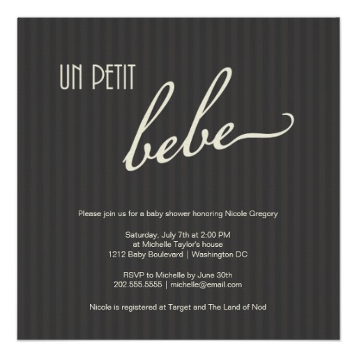 Chic French baby shower invites