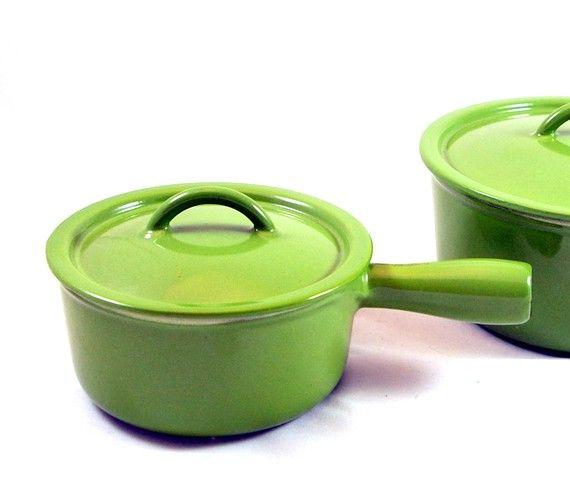 Green Descoware Enamel Cast Iron Sauce Pan Iron