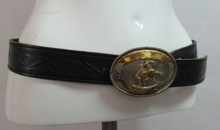 Vintage Rodeo buckled black tooled leather belt fashion belt R15327 #style #fashion #love #woman #chic #eBay #BELT #sangriasuzie