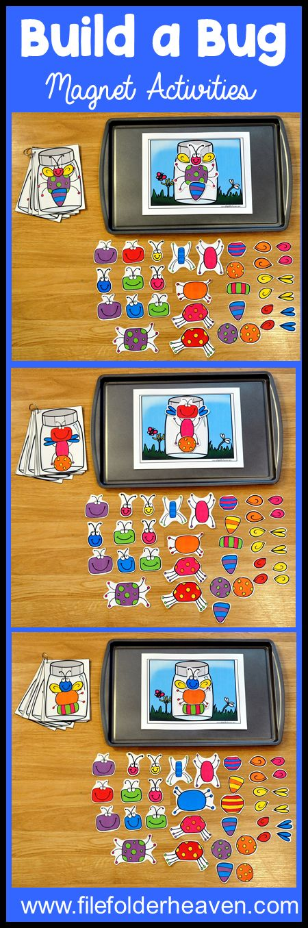 These Build a Bug Center Activities can be set up as cookie sheet activities, a magnet center or completed as cut and glue activities. This includes: 1 background, 14 build a bug example cards, and build a bug building pieces (all in color).  In this activity, students work on visual discrimination skills, recognizing same and different, and replicating a model.