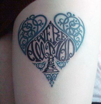 """We're all mad here"" heart and spade shaped Alice in Wonderland tattoo"