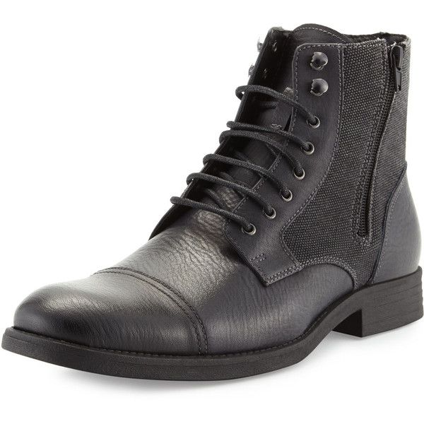 Rw Footwear Edgar Leather Double-Zip Boot ($99) ❤ liked on Polyvore featuring men's fashion, men's shoes, men's boots, men, shoes, black, mens black lace up boots, mens leather lace up boots, mens boots and mens zipper boots
