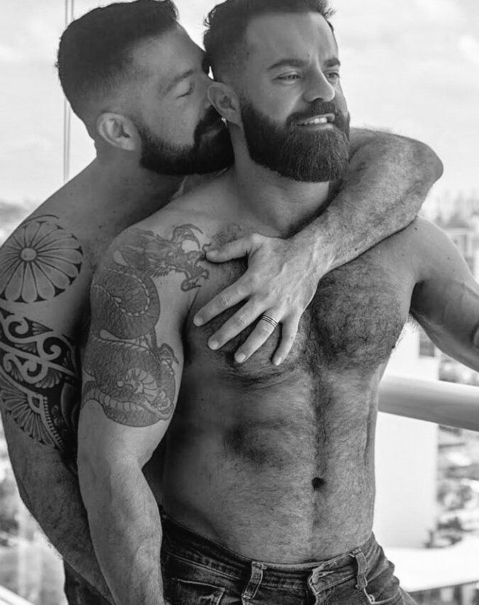 hairy chest stud gay couple