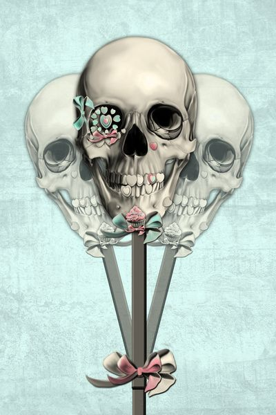 Kristy Patterson art print - Skull on a Stick