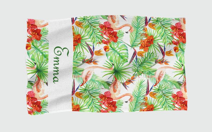 Personalised Beach Towel - Tropical Flamingos by NJsBoutiqueCo on Etsy