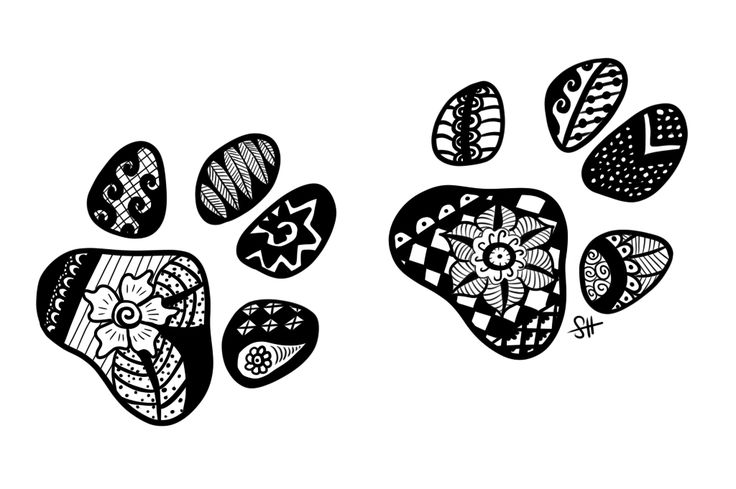Zentangle Paw Prints by Doerki