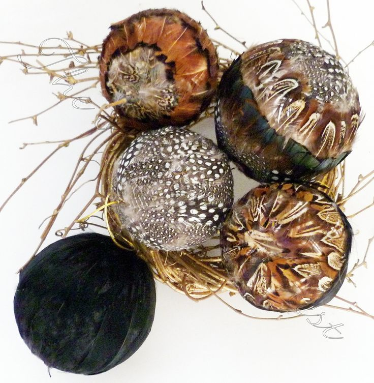 5 Fall Thanksgiving Christmas Halloween PHEASANT Feather Balls Tree Ornaments Lodge Decoration. $11.95, via Etsy.